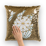 Cathedral Skull Pattern- Gold Sequin Pillow Case- Throw Pillow in Color Light Gray, Gray