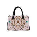 Gilded Bees & Ribs- French Gothic Boston Handbag in Nouveau Blush Taupe | Le Leanian™