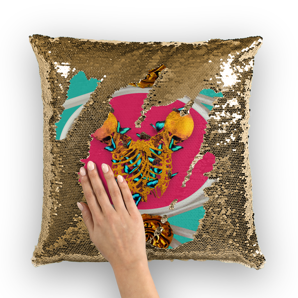 Versailles Gilded Skull Divergence Teal Whispers- French Gothic Sequin Pillowcase in Bold Teal & Fuchsia | Le Leanian™