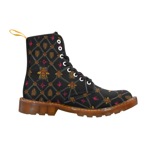 Bee Divergent Dark Ribs & Magenta Stars- Women's French Gothic Combat  Boots in Back to Black | Le Leanian™
