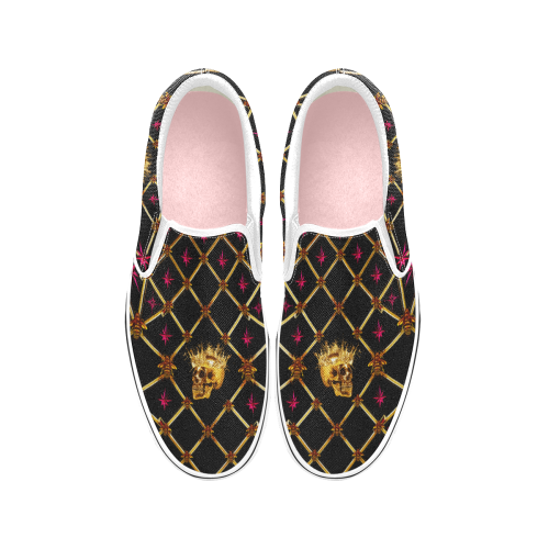 Skull and Magenta Stars-Honey Bee Pattern- Classic Slip-On Sneakers-Vans in Color Black