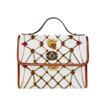 Gold Skull and Honey Bee-Magenta Stars- Clutch Handbag in Color White and Tan