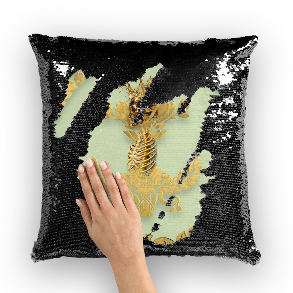 Caesar Skull Relief- French Gothic Sequin Pillowcase or Throw Pillow in Pale Green | Le Leanian™