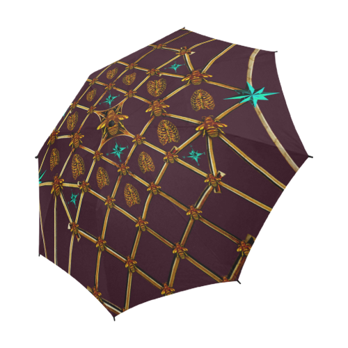 Bee Divergence Gilded Ribs & Teal Stars- Semi & Auto Foldable French Gothic Umbrella in Eggplant Wine | Le Leanian™