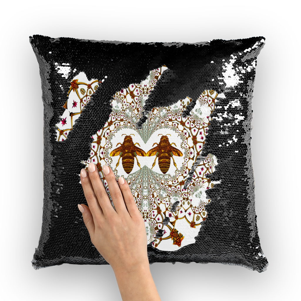 Baroque Honey Bee Extinction- French Gothic Sequin Pillowcase or Throw Pillow in White | Le Leanian™
