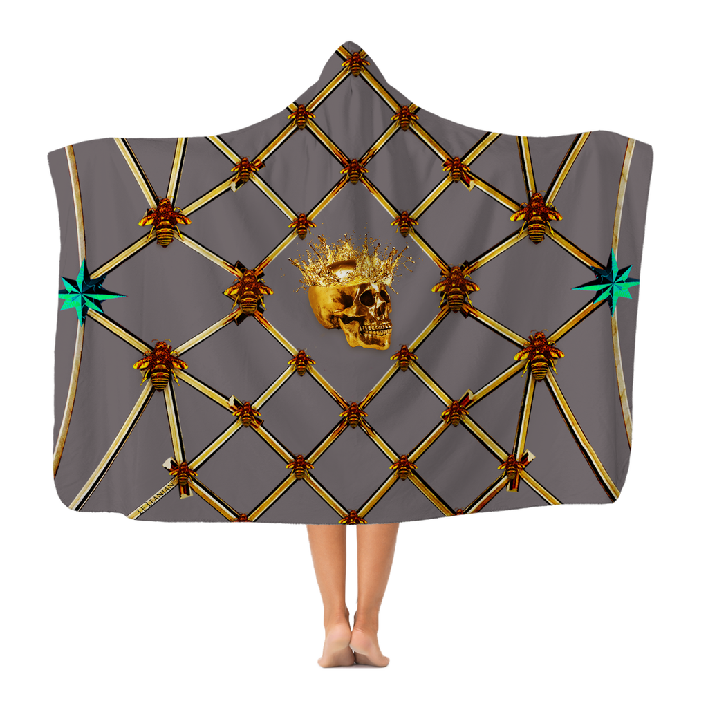 Skull Gilded Honeycomb & Jade Star- Adult & Youth Hooded Fleece Blanket in Lavender Steel | Le Leanian™