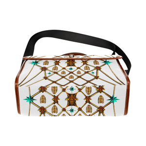 Gilded Bees & Ribs- Classic French Gothic Mini Brief Handbag in White | Le Leanian™