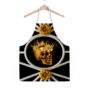 French Gothic Chic- Gold Skull- Classic Apron in Black