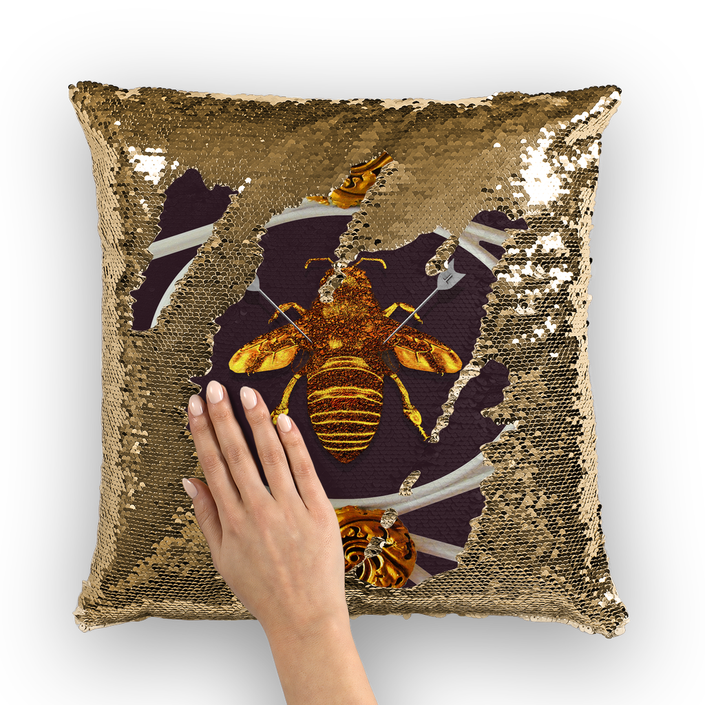 Versailles Queen Bee -French Gothic Sequin Pillow Case Throw Pillow-Muted Eggplant Wine Purple