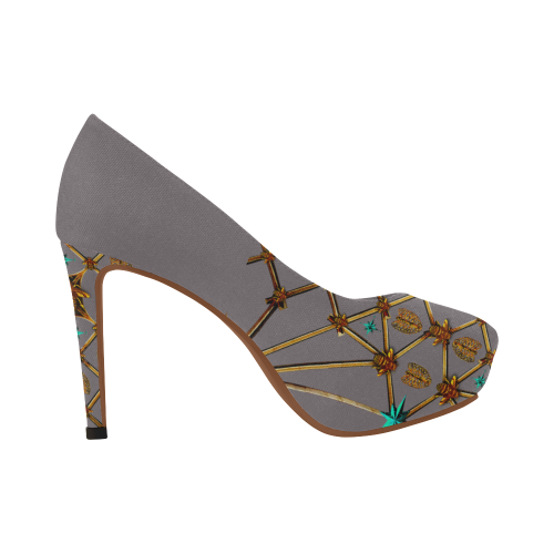 Gilded Ribs & Hive- Women's French Gothic Heels in Lavender Steel | Le Leanian™
