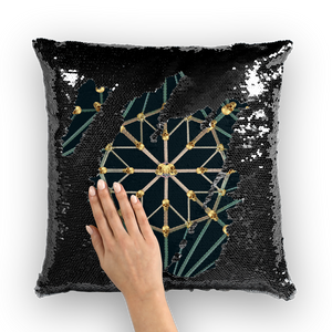 Skull Cathedral- French Gothic Sequin Pillowcase or Throw Pillow in Midnight Teal | Le Leanian™