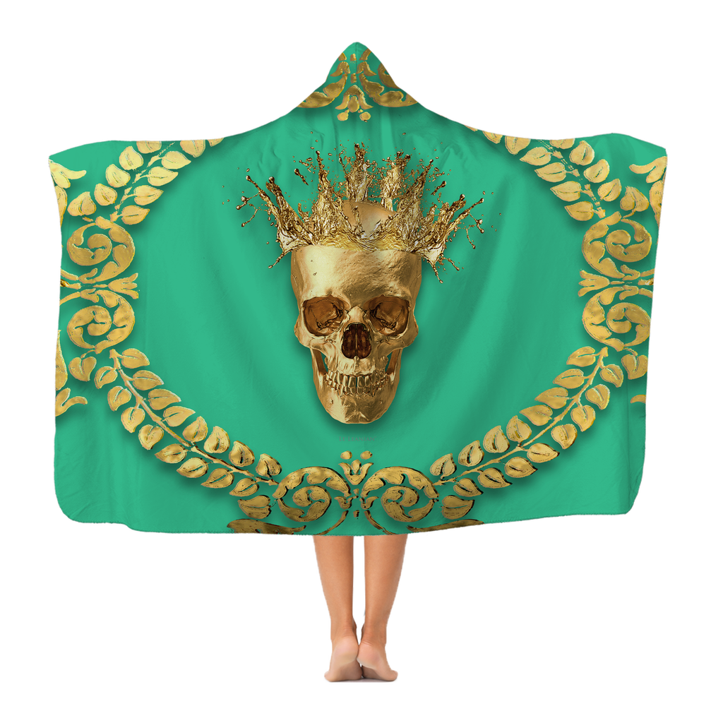 Polar Feece HOODED BLANKET-GOLD SKULL CROWN-GOLD WREATH-Color BOLD JADE TEAL, BLUE GREEN