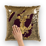 Gold Sequin Pillow Case-Throw Pillow-Gold WREATH, GOLD SKULL-Color EGGPLANT WINE, WINE RED, PURPLE