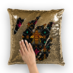 BLACK & GOLD SEQUIN PILLOW CASE-THROW PILLOW-Multi Color Honey BEE, RIBS, STARS PATTERN-Color BLACK