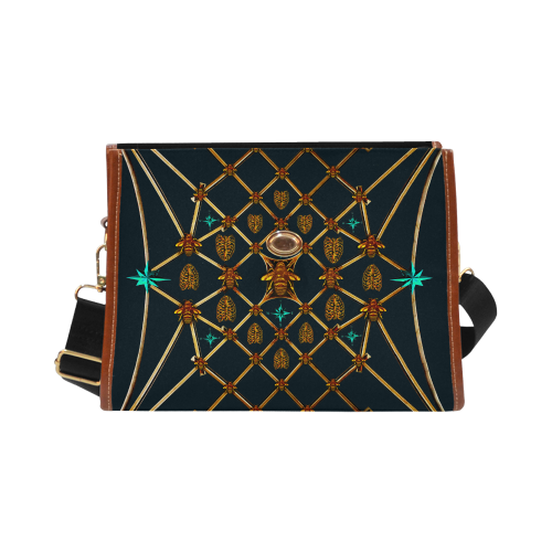 Gilded Bees & Ribs- Classic French Gothic Mini Brief Handbag in Midnight Teal | Le Leanian™