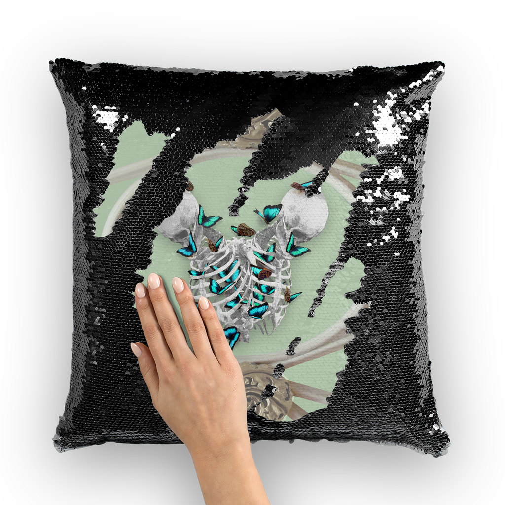 Versailles Whispers Divergent Teal Duality- French Gothic Sequin Pillowcase or Throw Pillow in Pastel | Le Leanian™