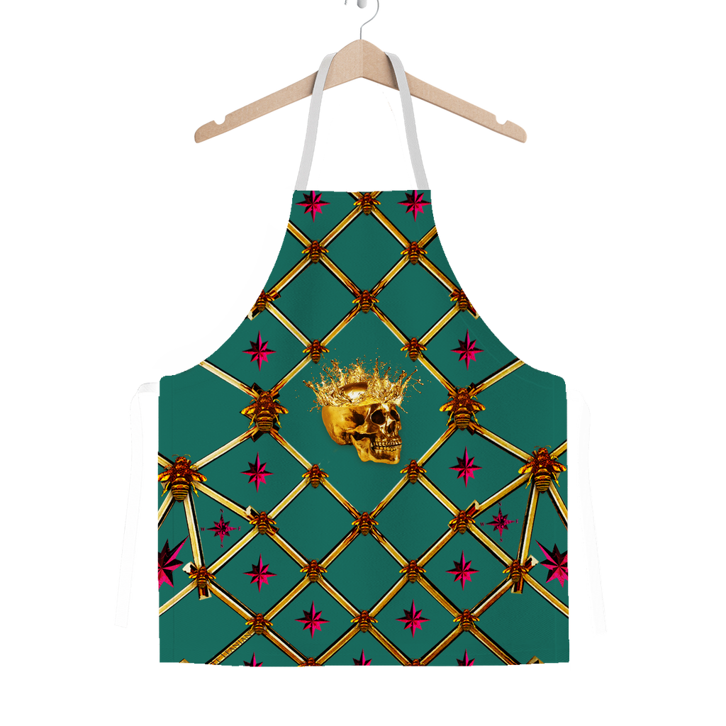 Skull Honeycomb & Magenta Stars- Classic French Gothic Apron in Jade | Le Leanian™