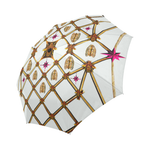 Custom UMBRELLA-Gold GILDED HONEY BEE, RIBS & STAR PATTERN- Color WHITE