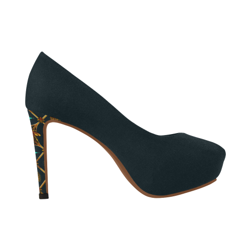 Gilded Bee- Women's French Gothic Heels in Midnight Teal | Le Leanian™