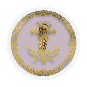 Circular BEACH THROW-Gold SKULL GOLD RIBS-GOLD WREATH- in Color PASTEL PINK
