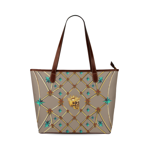 Gold Skull and Teal Stars- Classic Tote- Shoulder bag- in Color Tan, Cocoa, Clay, Brown, Neutral
