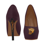 Women's Crucifix and Skull High Heel Shoes- in Color Eggplant Wine, Neutral Eggplant, Neutral PURPLE