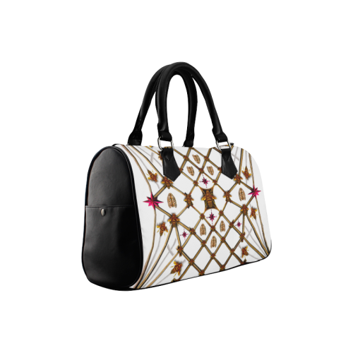 Bee Divergence Ribs & Magenta Stars- French Gothic Boston Handbag in White | Le Leanian™