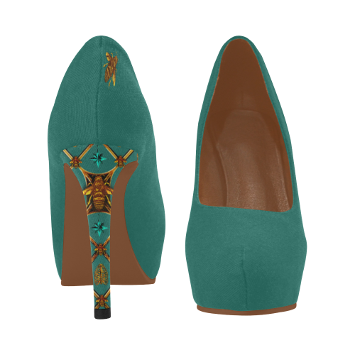 Women's High Heels- Gilded Honey Bee-Honeycomb Pattern Heels in Color Jade Teal, BLUE