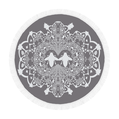 Circular Throw-Baroque Honey BEE Relief-Color LAVENDER STEEL & WHITE
