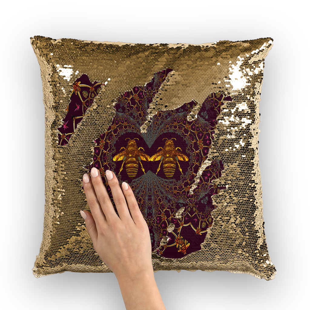 Sequin Gold & BLACK PILLOW CASE-Throw PILLOW-Baroque Bee Pattern-Color EGGPLANT WINE, WINE RED, BLOOD PURPLE