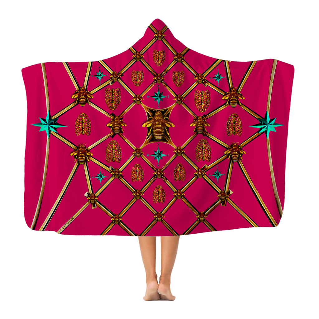Gilded Bees & Ribs Teal Stars- Adult & Youth Hooded Fleece Blanket in Bold Fuchsia | Le Leanian™