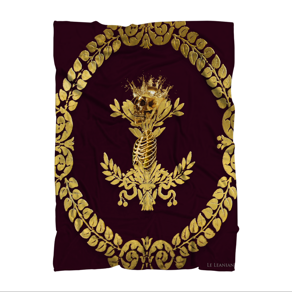 Caesar Skull Relief- Classic French Gothic Fleece Blanket in Eggplant Wine | Le Leanian™