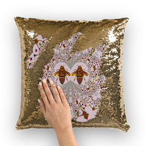 Baroque Honey Bee Extinction- French Gothic Sequin Pillowcase or Throw Pillow in Lightest Blush Taupe | Le Leanian™