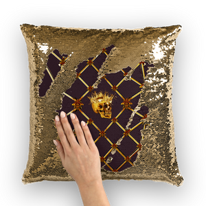 French Gothic Honey Bee & Rib Pattern-Sequin Pillowcase & Throw Pillow-Eggplant Wine Red Purple