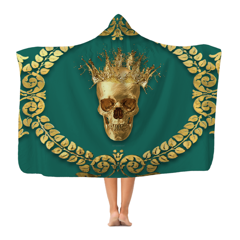 Polar Fleece HOODED BLANKET-GOLD SKULL CROWN-GOLD WREATH-Color JADE, GREEN BLUE GREEN