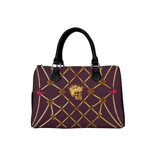 Gold Skull and Magenta Stars- Honey Bee Pattern- Classic Boston Handbag in Colors Eggplant Wine-Wine Red and Black