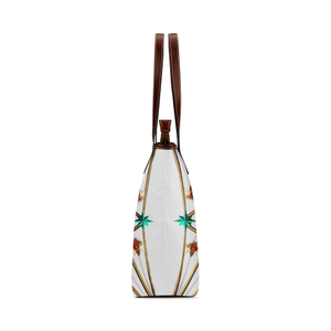 Bee Divergence Ribs & Teal Stars- Classic French Gothic Tote Bag in White | Le Leanian™
