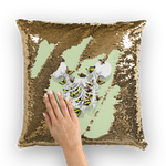 Versailles Whispers Golden Duality- French Gothic Sequin Pillowcase or Throw Pillow in Pale Green | Le Leanian™