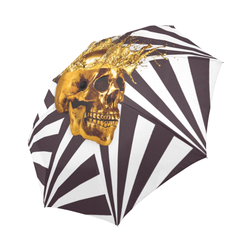 Cirque-Circus UMBRELLA-Geometric Stripes and Gold Skull-Color Muted Eggplant Wine, NEUTRAL PURPLE