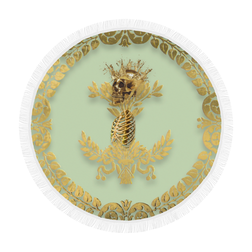 Circular BEACH THROW-Gold SKULL GOLD RIBS-GOLD WREATH- in Color PASTEL GREEN