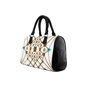 Women's Handbag-Boston Bag- Gold Bee & Ribs Pattern in Color WHITE and BLACK