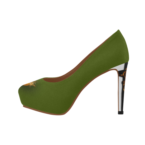 Women's Crucifix and Skull High Heel Shoes- in Color Olive GREEN
