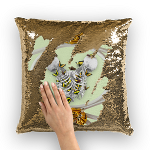 Versailles Gilded Skull Divergence Golden Whispers- French Gothic Sequin Pillowcase or Throw Pillow in Pale Green | Le Leanian™