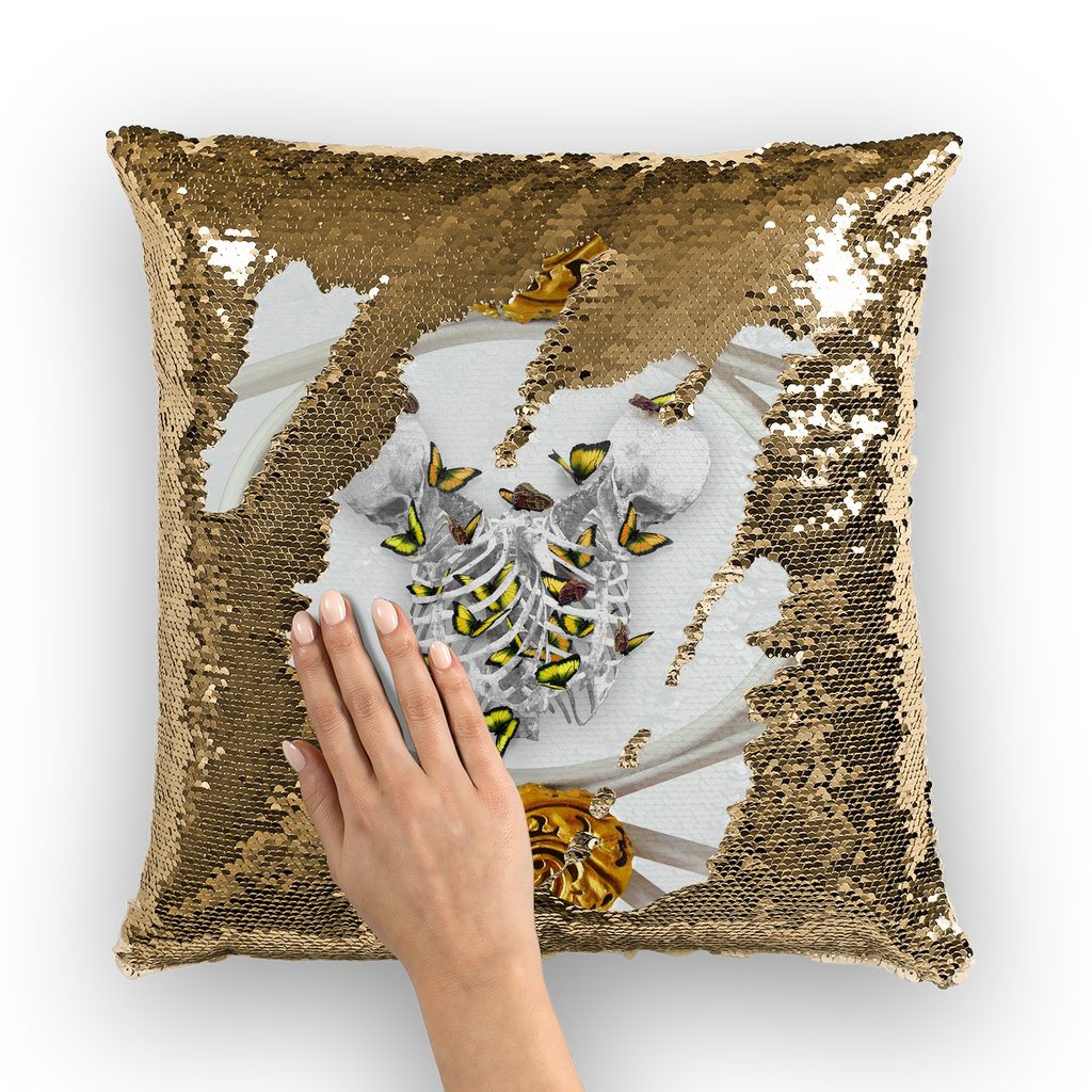Siamese Skeletons & Gold Butterfly- Gold Sequin Pillow Case- French Gothic- Gothic Chic- Color Light Gray- Gray