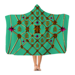 Bee Divergence Gilded Ribs & Magenta Stars- in Bold Jade Teal Classic French Gothic Adult Hooded Fleece Blanket | Le Leanian™