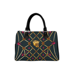 Gold Skull and Magenta Stars- Honey Bee Pattern- Classic Boston Handbag in Colors Midnight Teal-Blue and Black