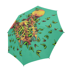 Siamese Skeleton Custom Umbrella- Gold Butterflies- Fashion Umbrella in Color Bold Jade Teal, Teal, Blue, Aqua