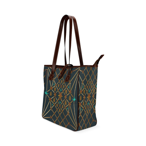 Women's Honey Bee, Ribs, Blue Star Pattern- Shoulder Tote in Color BLUE