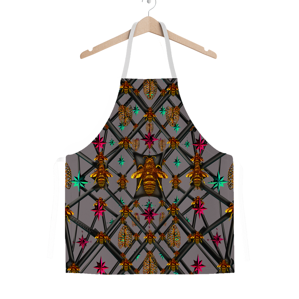 Bee Divergent Abstract- Classic French Gothic Apron in Lavender Steel | Le Leanian™