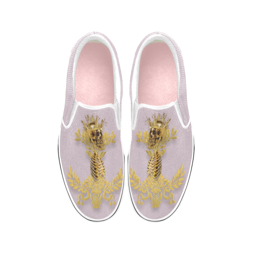 Women's Gold Wreath-Gold Skull and Ribs-Slip-On Sneakers-Vans- Color PASTEL PINK